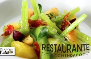 Menú especial de verduras, trufa y chuleta
